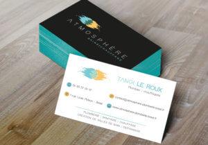 Création de cartes de visite pour Atmosphère Bain Chauffage - My Little Com' agence de communication à Brest