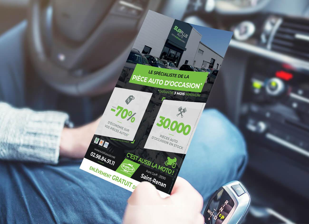 Création d'un flyer pour Surplus Auto - My Little Com' Agence de communication à Brest